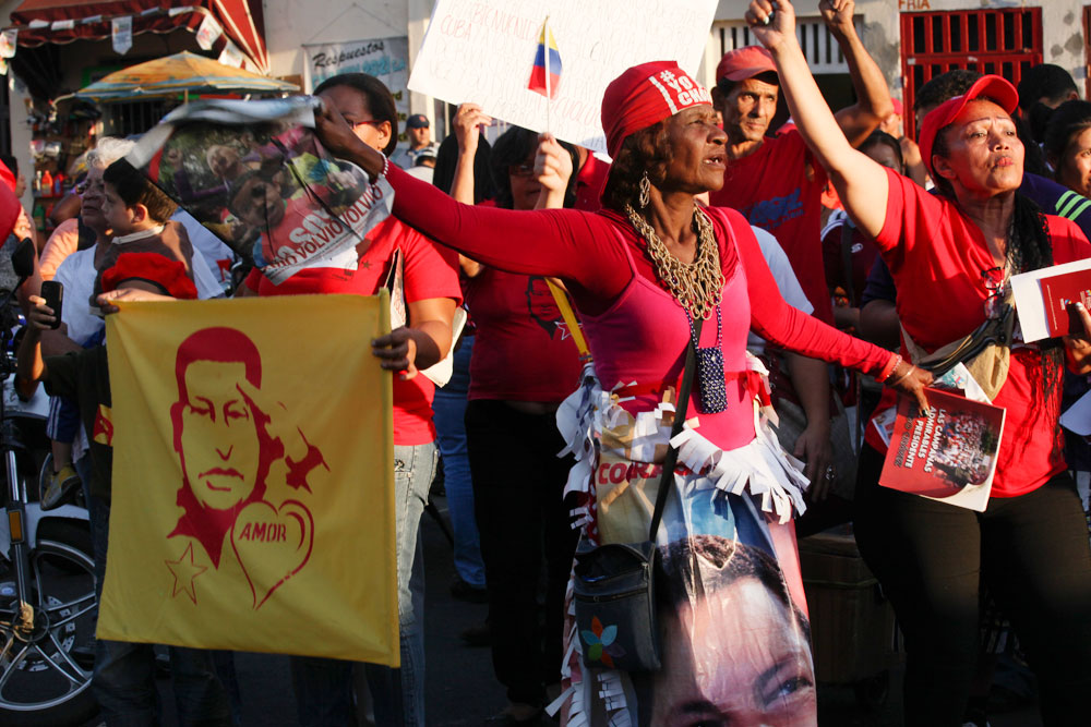 Supporters of Chavez outside the hospital on 18 February.