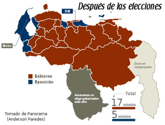 Map of states: Red - PSUV win; Blue - Oppositon win