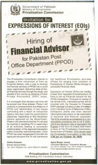 Advertisment for consultant to help with  privatisation of Pakistani postal service.