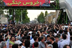 Demonstrators in Tehran, June 15. Photo by Hamed Saber.