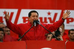 Hugo Chávez,  leader of the Venezuelan Revolution, is now proposing the setting up the  Fifth International. Photo by Uh Ah, ¡Chavez no se va!