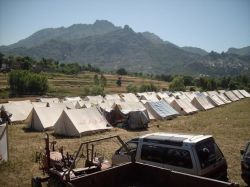 This relief camp in Rangmala (Malakand) is run by the the Pakistan Trade Union Defence Campaign.