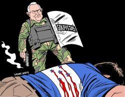 Golpista Roberto Micheletti.  De Latuff.