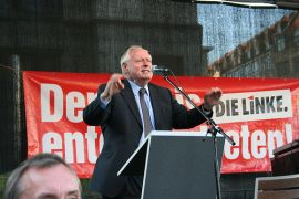 Oskar Lafontaine during the election campaign in Saxony. Photo by Die Linke Sachsen.