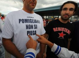 "T-Shirts with labels ""Pomigliano will not give in"" and 