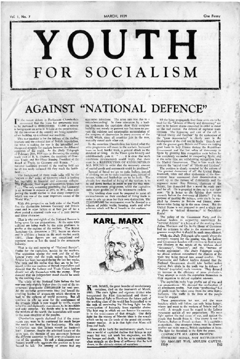 "Youth For Socialism, March 1939, carrying the lead article <em>Against ""national defence""</em> by Ted Grant"
