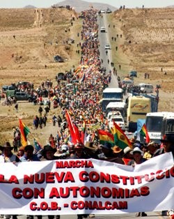To put pressure on the oligarchy, a march from Caracallo in Cochambamba province to La Paz will arrive in the capital on October 20th.