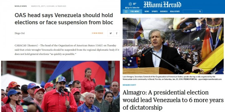 OAS Secretary General Luis Almagros shifting opinions on the need for elections Image left Reuters peice on March 15 2017 right Miami Herald piece on January 20 2018