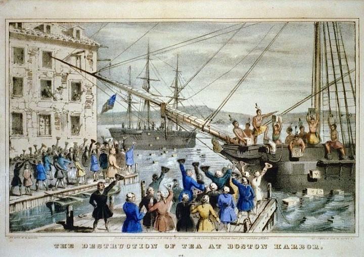 Boston Tea Party Currier colored Imagen Dominio Público