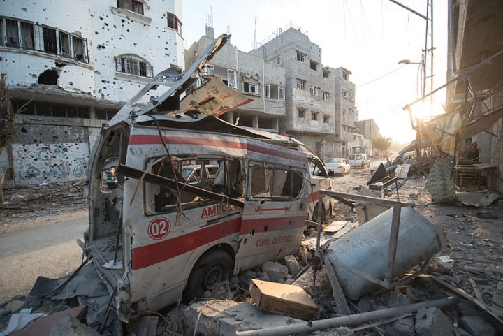 Destroyed ambulance on Gaza strip Image Boris Niehaus