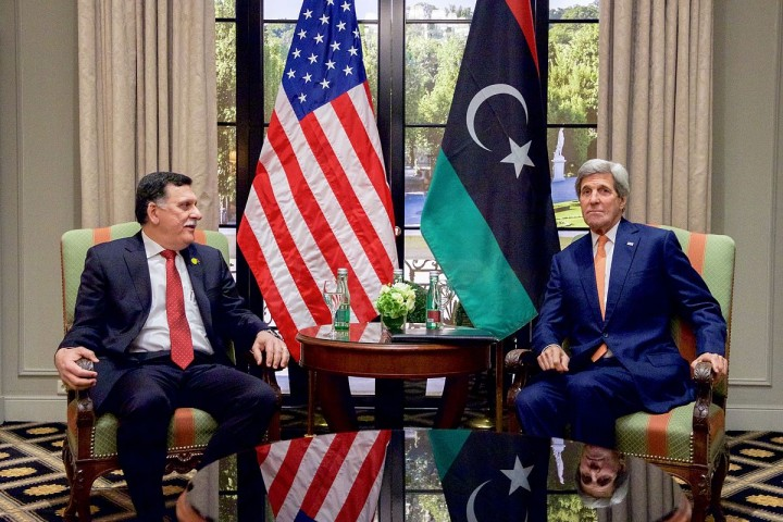 Secretary John Kerry Sits With Libyan Prime Minister al Sarraj Image U.S. Department of State