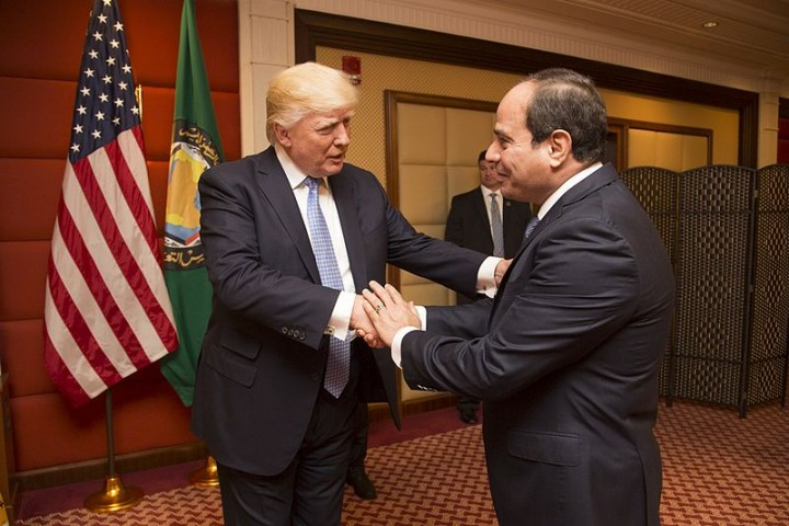 Donald Trump greets the President of Egypt Abdel Fattah Al Sisi May 2017 Image White House