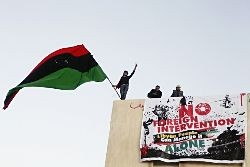 Banner opposing foreign intervention, Benghazi, last year