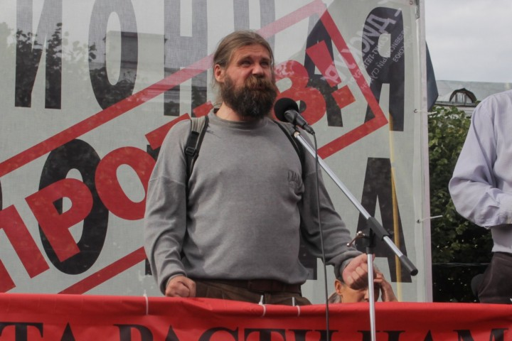 Comrade speaking at pension rally Image own work