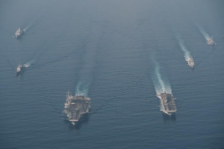 美國政府在台灣問題上的模棱兩可的立場日益削弱,但它是否准備在軍事上介入,仍然令人懷疑。這場衝突的意義在於,在亞洲,軍事力量的天平已經從美帝國主義那裡傾斜到了中國。//圖片來源:美國太平洋艦隊,Flickr