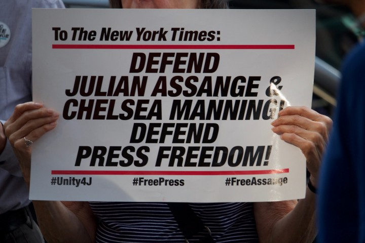 Assange press Image Pamela Drew Flickr