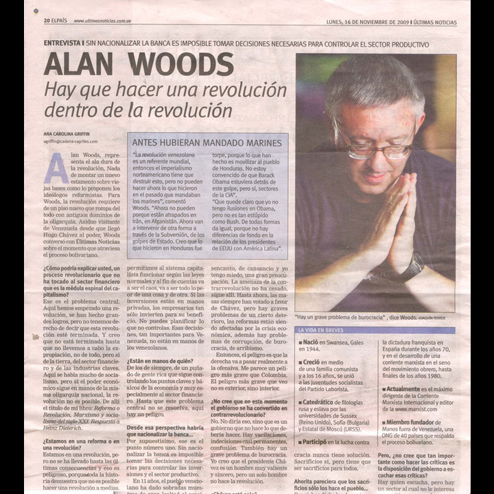 "Alan Woods: ""We must carry out a revolution within the revolution"""