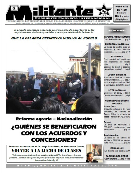 Front page of the first issue of El Militante Bolivia.