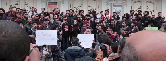 Tunisians have been protesting a new IMF imposed budget Image Nawaat