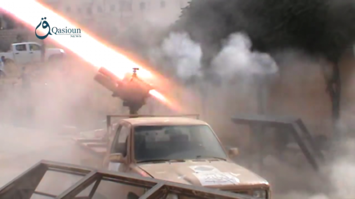 Sham Legion launch rockets at YPG positions in Aleppo Image Qasioun News Agency