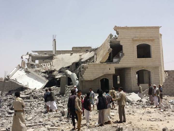 Destroyed house in the south of Sanaa Image public domain
