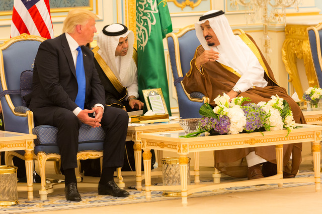 Donald Trump and King Salman bin Abdulaziz Al Saud talk together May 2017 wikipedia commons