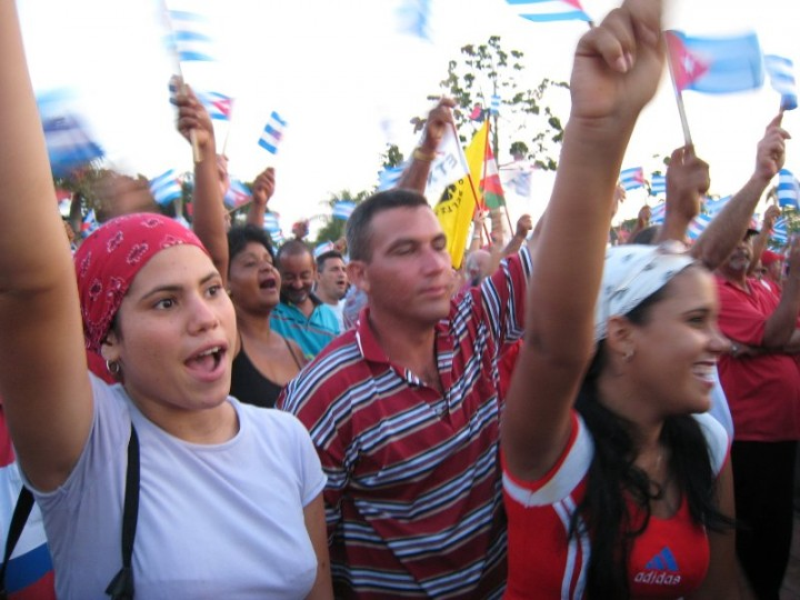 Crowd celebrating anniversary of Cuban Revolution Image stttijn