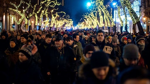 One of Budapests main thoroughfares full of protesters Image