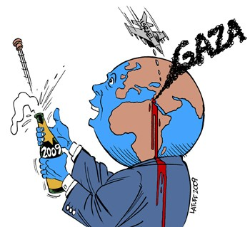 No Happy New Year for the people in Gaza (drawing by Latuff)