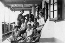 Millie Kahn (bottom left) on one of her trips