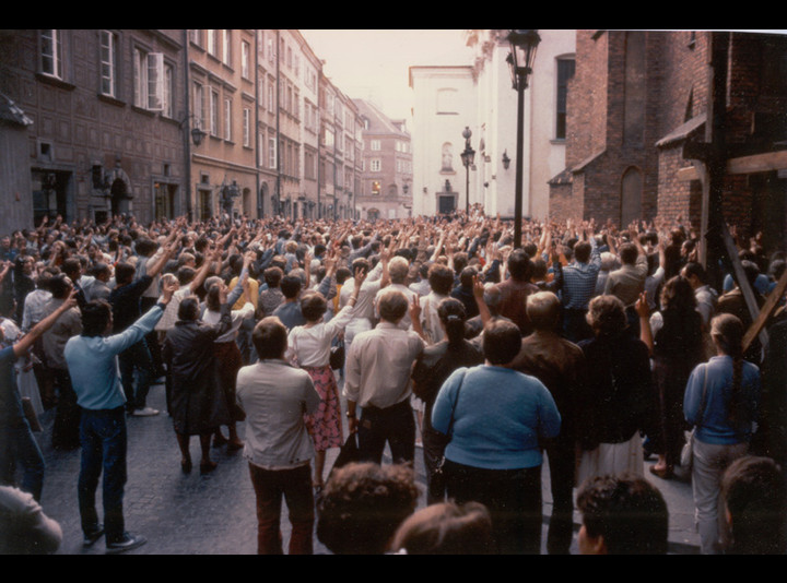 Mass protests in Poland in August 1984.