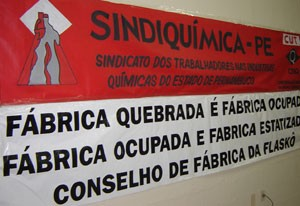 Factory closed, factory occupied and nationalised, the workers council, FLASCO