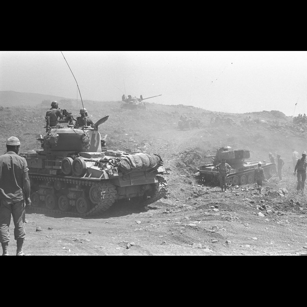 Israeli tanks advancing on the Golan Heights. June 1967