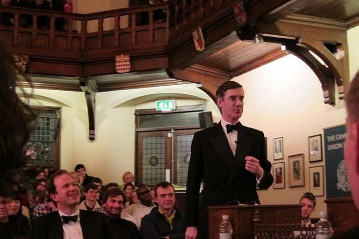 Jacob Rees Mogg debating at the Cambridge Union Society Image Cantab12