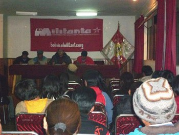 Public meeting of the IMT in Potosí, Bolivia