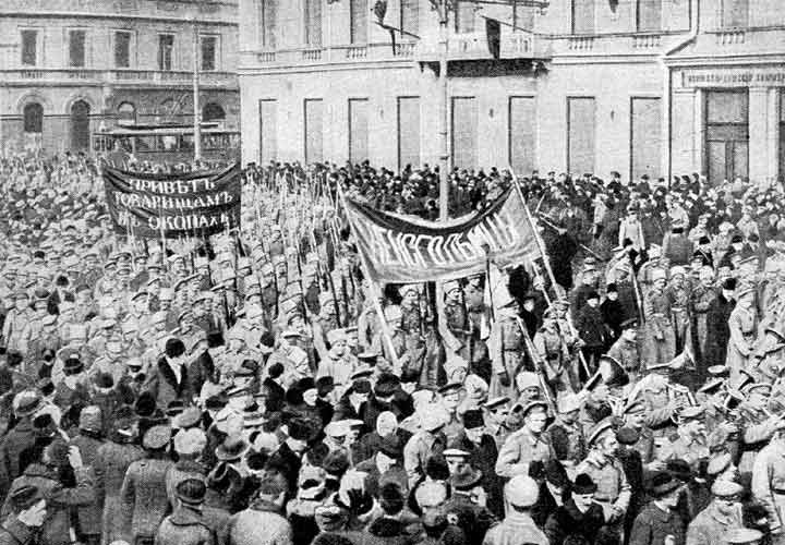 Soldiers demonstration.February 1917