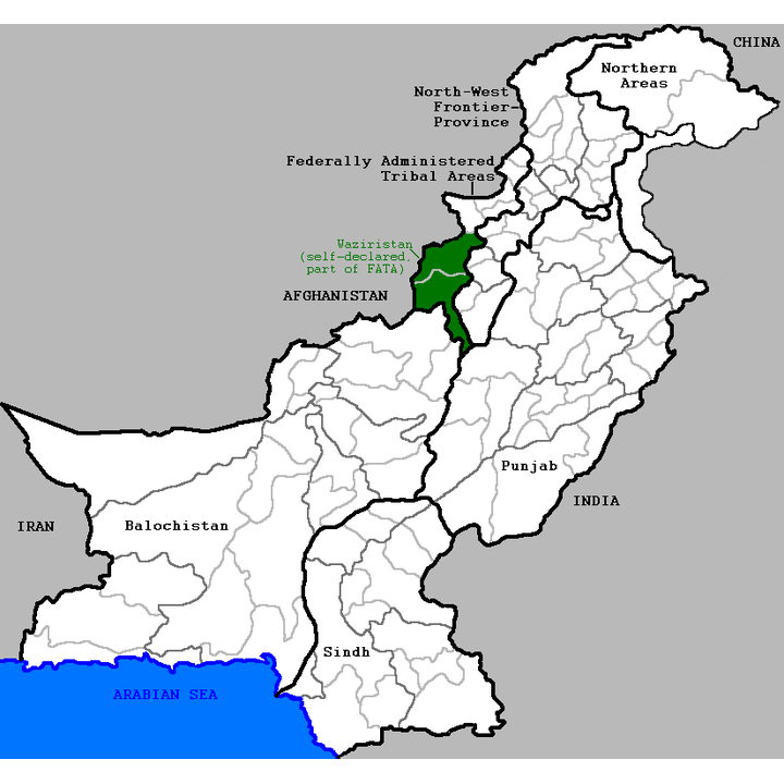 Waziristan in the Federally Administered Tribal Areas. Illustration: Narayanese