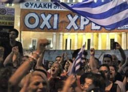 Oxi demonstration in front of parliament