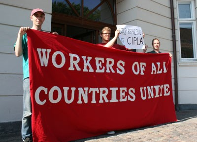 Picket in support of CIPLA workers at Brazilian Embassy in Denmark