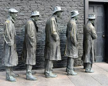 Effects of the last Great Depression: 'Breadline' sculpture at the Franklin D. Roosevelt Memorial in Washington, DC. Photo by Tony the Misfit on flickr.