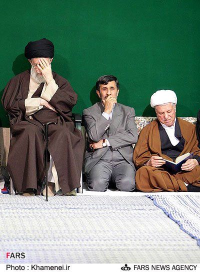 From the left Ali Khamenei - Mahmoud Ahmadinejad - Akbar Hashemi Rafsanjani