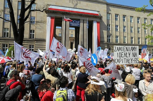 Solidarity demonstration in Wrocław Placard says PiS We exchange ideas for Capital Image public domain