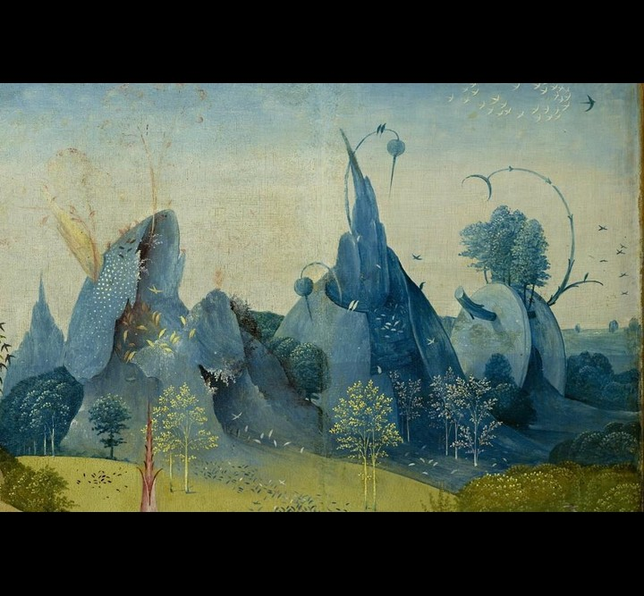 "Detail of mountains from Bosch's ""The Garden of Earthly Delights"""
