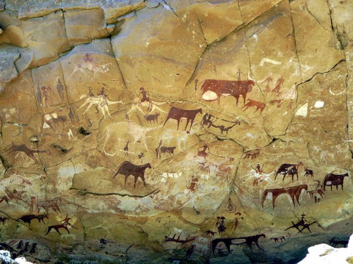 Prehistoric Rock Paintings at Manda Guéli Cave in the Ennedi Mountains Image David Stanley