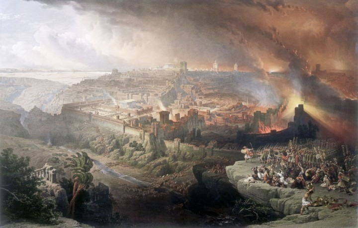 Destruction of Jerusalem 70 AD as conceived by David Roberts 1850 Image public domain