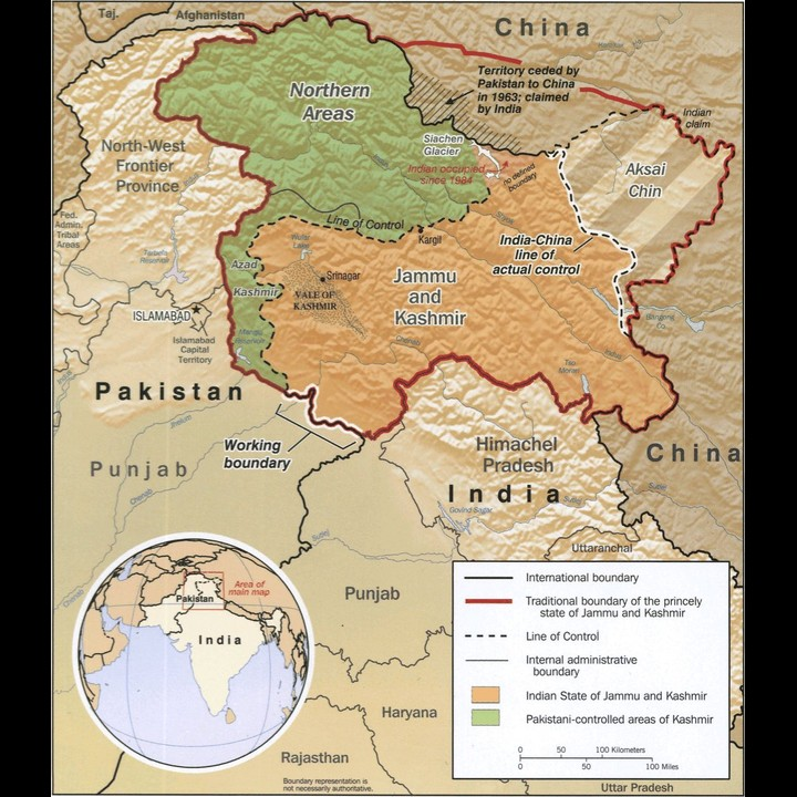 Kashmir map - Public Domain