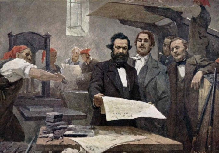Marx and Engels at the Rheinische Zeitung Image public domain