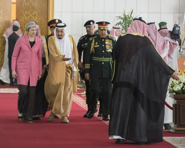 Theresa May with Saudis Image UK Prime Minister