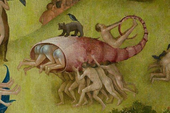 """Detalle de humanos transportando un pez de """"El jardín de las delicias"""" del Bosco"""