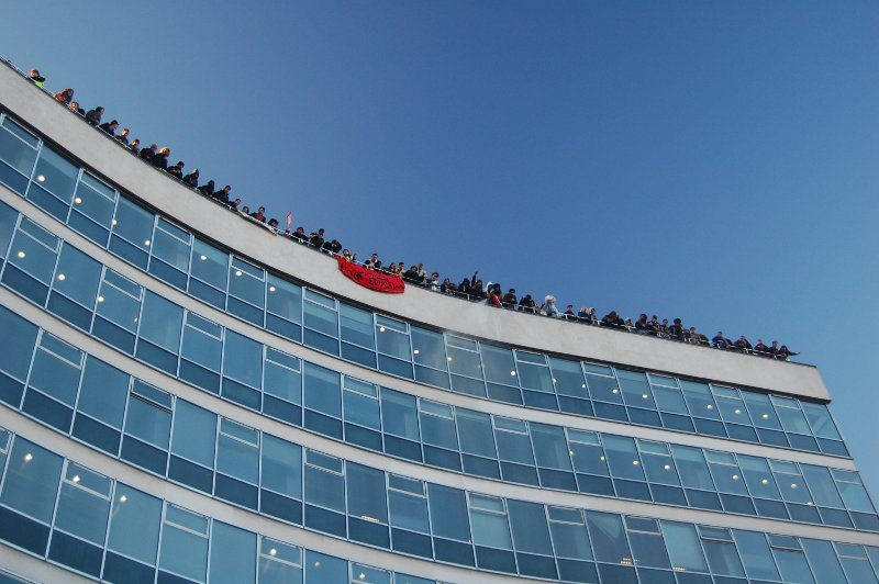 Occupiers on the roof of Tory HQ. Photo: SonniesEdge